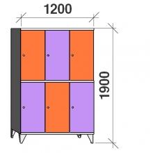 Klädskåp, 6 dörrar, 1900x1200x545 mm
