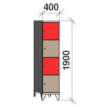 Klädskåp, 4 dörrar, 1900x400x545 mm
