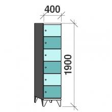 Klädskåp, 6 dörrar, 1900x400x545 mm