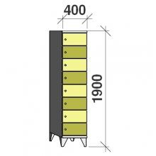 Klädskåp, 8 dörrar, 1900x400x545 mm