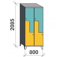 Z-kapp 2085x800x545, 4 ust, kaldkatusega
