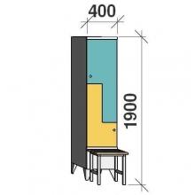 Z-locker 1900x400x845, 2 doors, with bench