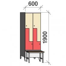 Z-kapp 1900x600x845, 4 ust, pingiga