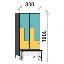Z-locker 1900x800x845, 4 doors, with bench